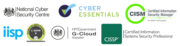 UK cyber security services with CISM CISSP Cyber Essentials IISP HM Government G-Cloud 12 NCSC GDPRP certified logo
